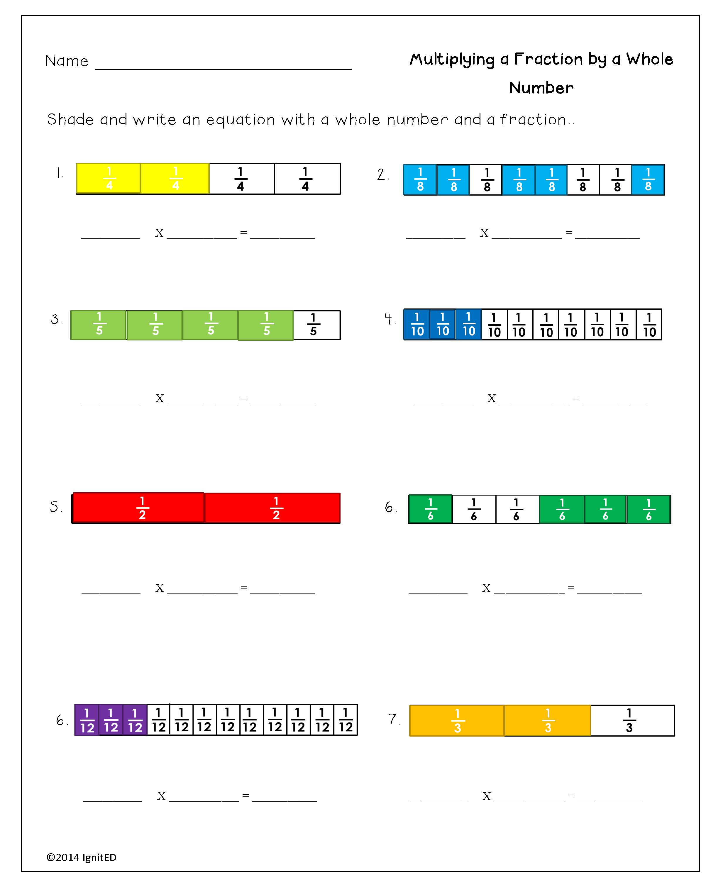 Decomposing Fractions Worksheet