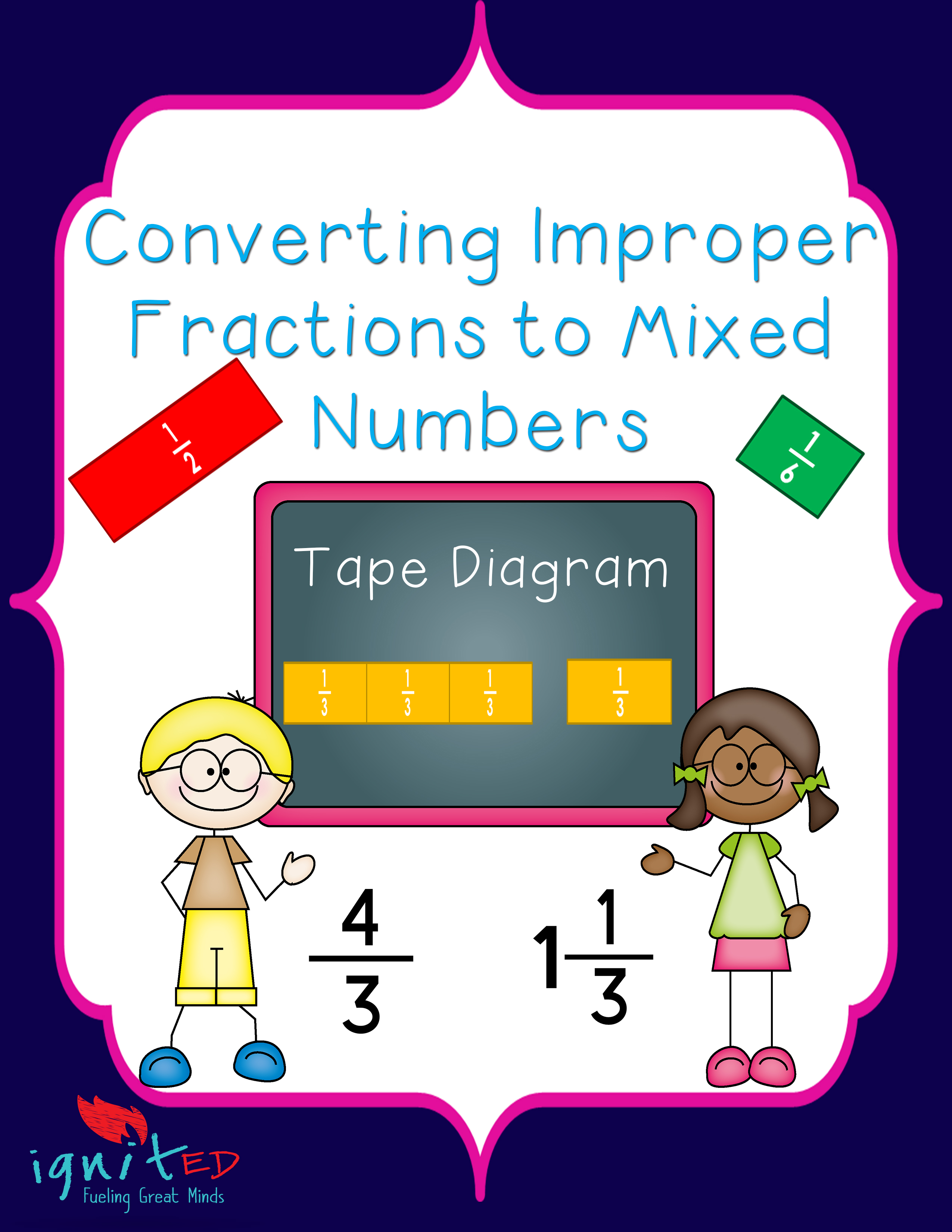 Tape Diagram Converting Improper Fractions To Mixed