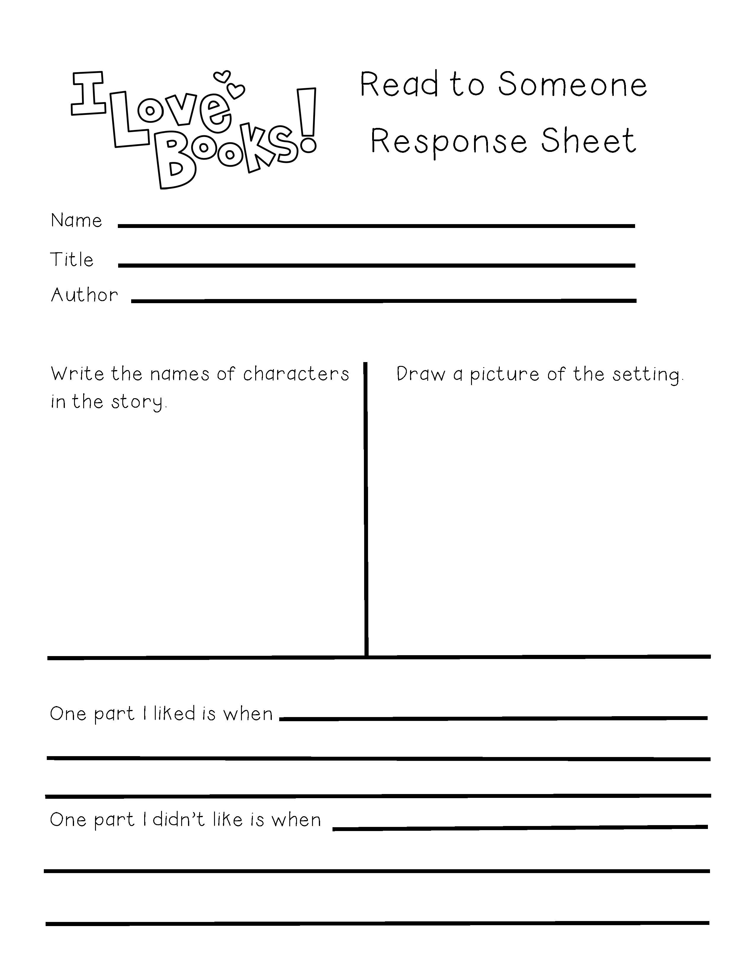 Differentiated Partner Reading Response Log