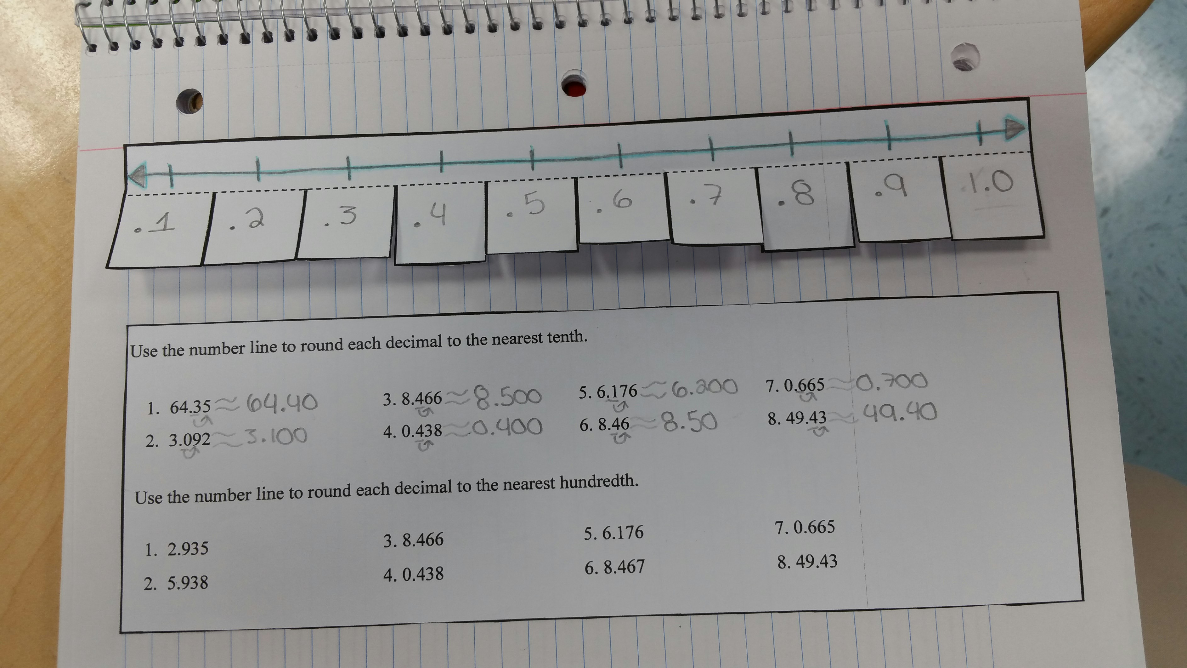 Rounding Number Line Worksheet