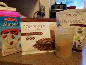 Chocolate Complete with chia seeds and unsweetened almond milk