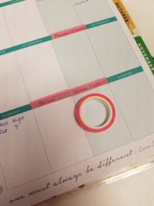 Happy Planner with Washi Tape meal planning