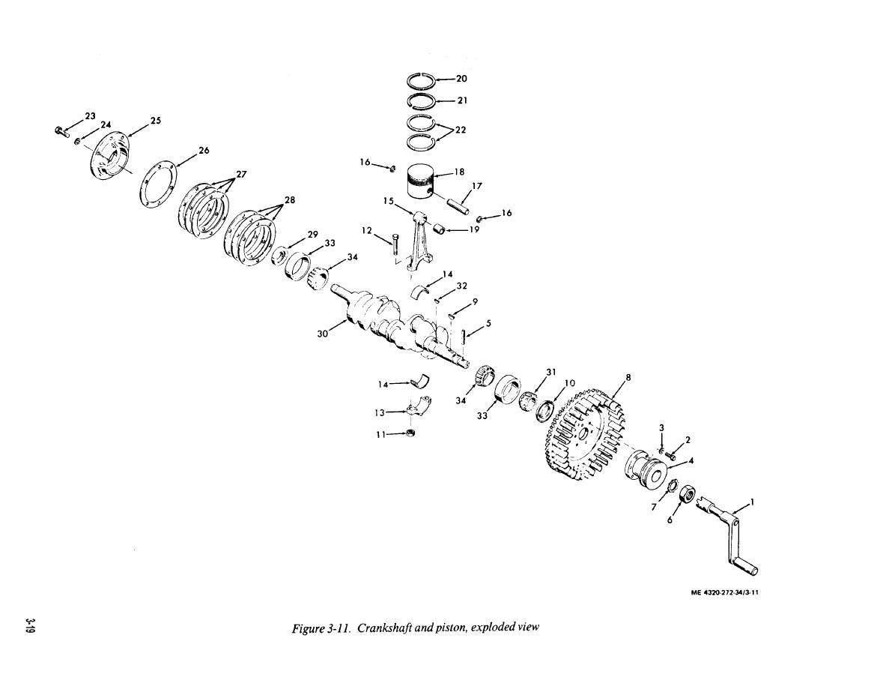 Figure 3 11 Crankshaft And Piston Exploded View