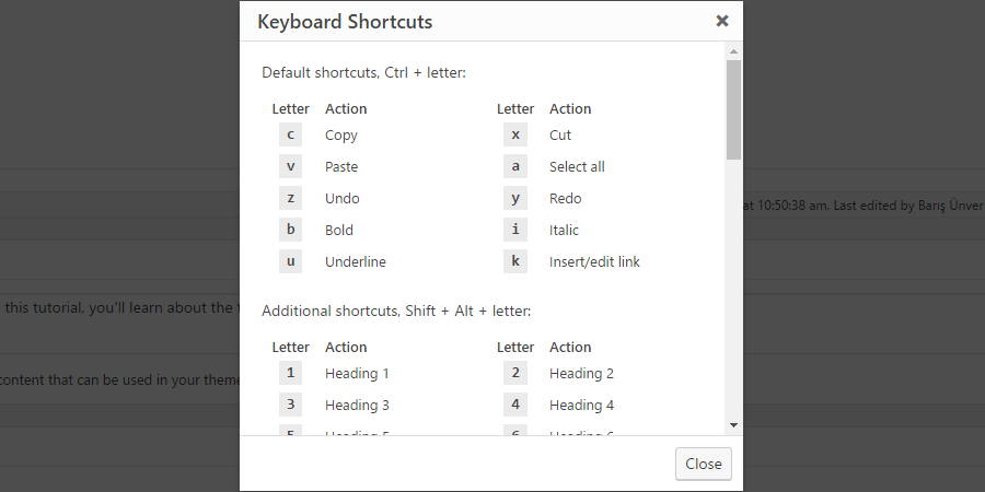 Unknown WordPress features: Keyboard Shortcuts