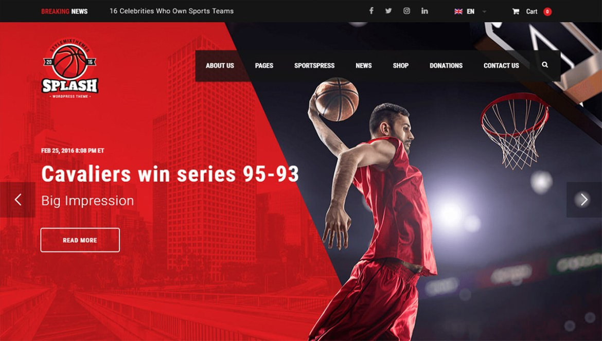 WordPress Sports Themes: splash