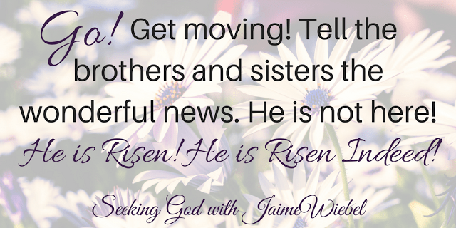 Go! Get moving! Tell the brothers and sisters the wonderful news. He is not here! He is Risen! He is Risen Indeed!