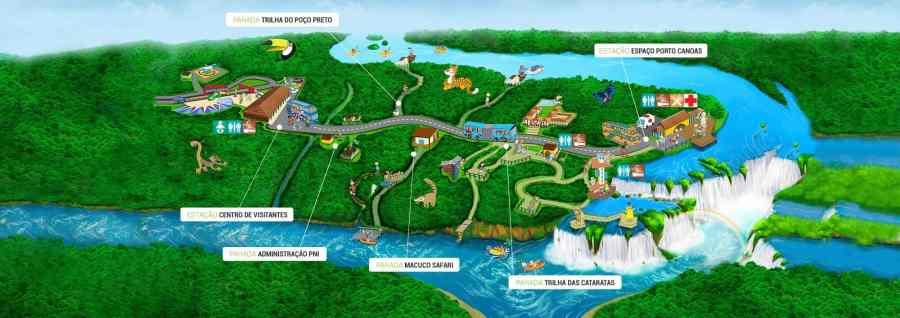 Mapa do Parque Nacional do Iguaçu - Cataratas do Iguaçu lado brasileiro.