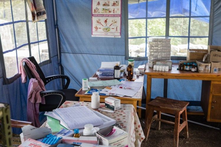 Inside the temporary health post in Lakuri Danda, Dolakha, Nepal. Dolakha district is one of the hardest hit April 25th Nepal earthquake disaster zones in Nepal.