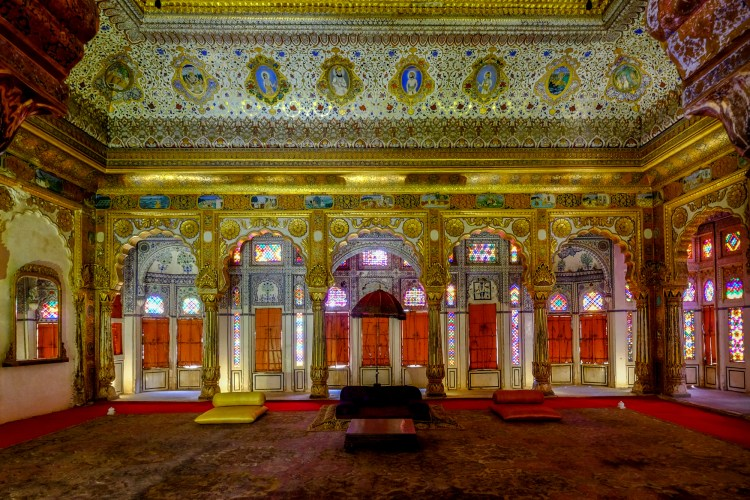 Phul Mahal (The Palace of Flowers) in the Mehrangarh Fort,Jodhpur, India. Built in the mid 18th centuryit was probably used as a private audience hall. A stunning room but with with very little light showing what the X-T1 can do in difficult lighting conditions.