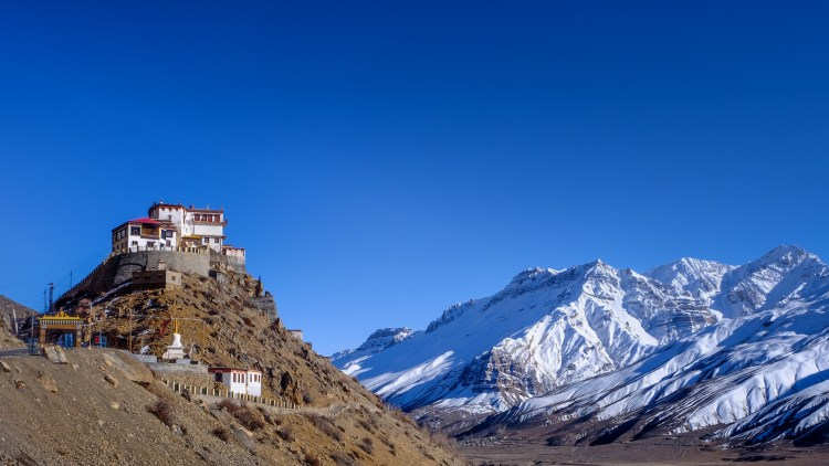 Kee Monastery (also spelled Ki and Key), Spiti Valley, Himachal Pradesh, India. The Buddhist monastery, believed to be a 1000 years old, sits on a hilltop at an altitude of 4,166 meters. It has a collection of ancient scrolls and murals and is the biggest monastery in the Valley.