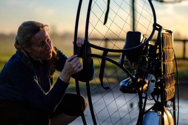 Sacha preparing her paramotor. X-Pro2 and XF56mm F1.2