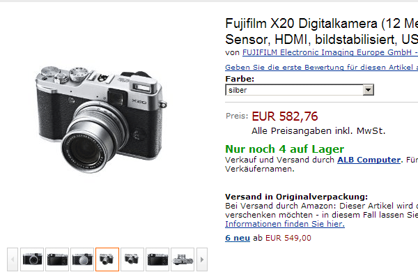 Fuji X20 en Amazon Alemania