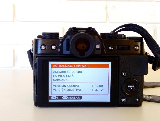 X-T10 actualización de firmware.