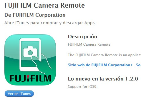 iOS9 ya es compatible con Fujifilm Camera Remote