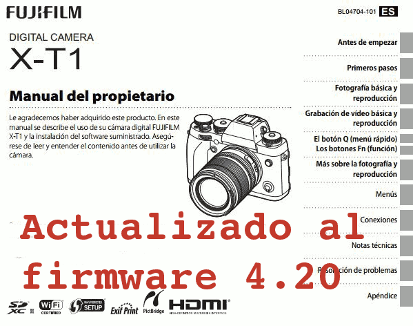 Manual de la Fuji X-T1 4.20 en español.