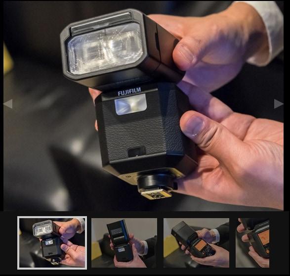 Captura de la web DPreview en el que se muestra el Flash EF-500X.