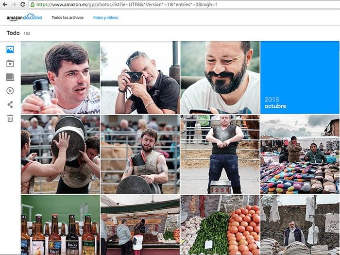 Vista de la interfaz de visualización cronológica de nuestras fotos en Amazon Cloud Drive.