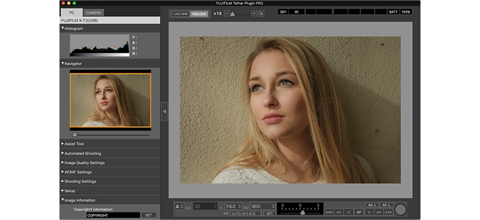 Interfaz del nuevo panel de control de Tether Shooting Plug-in PRO para Lightroom.