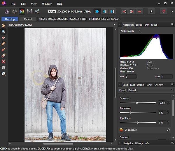 Interfaz del módulo de revelado RAW de Affinity Photo.