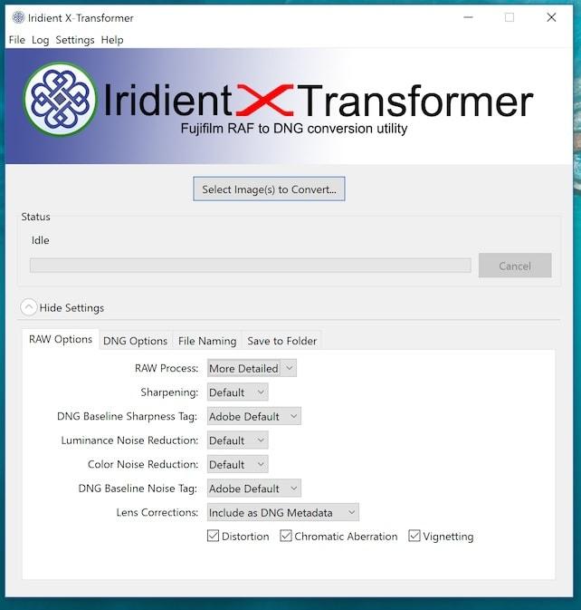"""Opciones de """"cocinado"""" del RAW en Iridient X Transformer."""