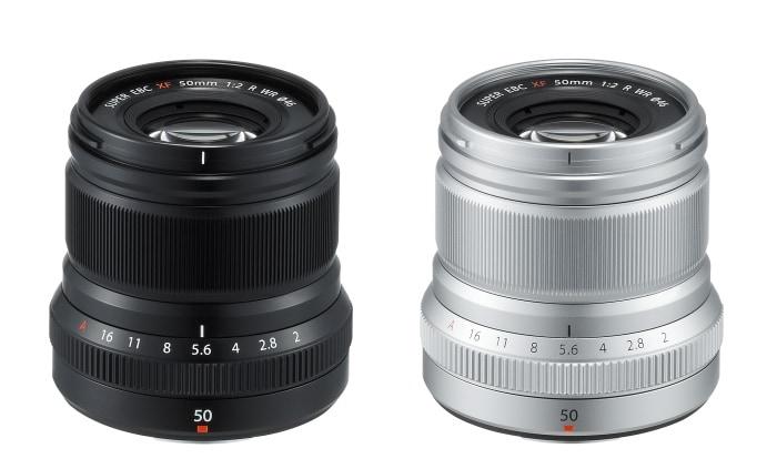 Fujinon XF 50mm F2 R WR en negro y plata.