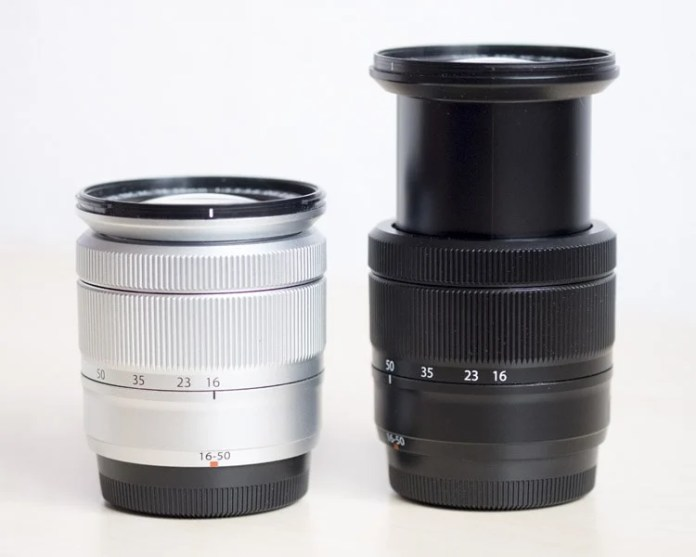 XC 16-50mm plateado a 16mm vs XC 16-50mm negro a 50mm.