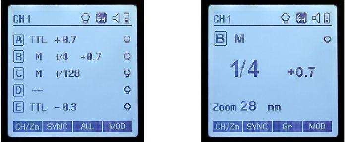 Pantalla con la información de los 5 grupos de flashes frente a la pantalla de detalle de grupo.
