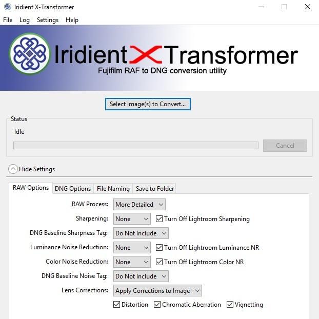Configuración de Iridient X-Transformer.