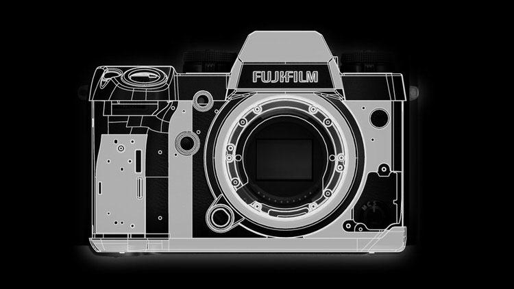 Refuerzos del armazón de la Fujifilm X-H1.