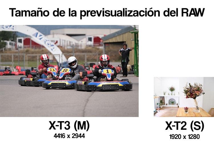 Previsualización RAW de la Fujifilm X-T3 vs X-T2.