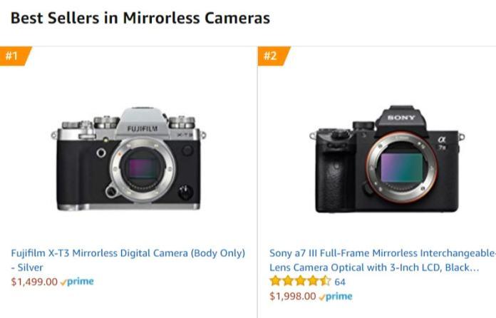 Fujifilm X-T3 más vendida en Amazon.
