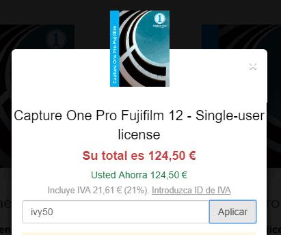 ¡Cupón de descuento del 50% en Capture One Pro Fujifilm!