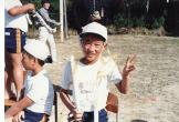 4年生のときの運動会。マスゲームか何かで踊った直後の写真です(おそらく)。
