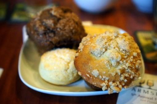 Crust Bakeshop Coffee Cake & Marbled Muffins, Cream Scones, Croissants