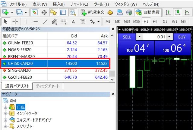 XM 中国株 トレード