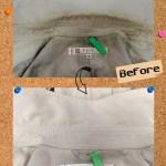 メルローズのスプリングコートに付いたエリ汚れの除去