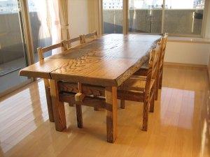 栗一枚板ダイニングテーブルと椅子