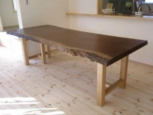 ブラックウォールナット一枚板ダイニングテーブル