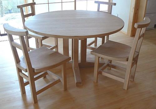 無垢 丸テーブル 集中脚