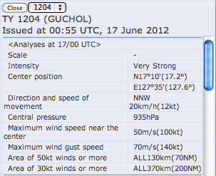 A very strong typhoon 04 is hitting Fukushima on 6/20/2012