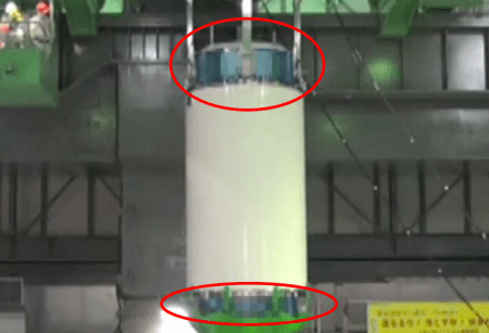 Tepco pixelate 2 parts of fuel container of reactor4 pool
