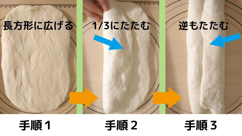 食パンの成形手順