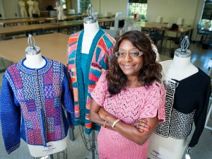 Phyllis Miller with apparel designs
