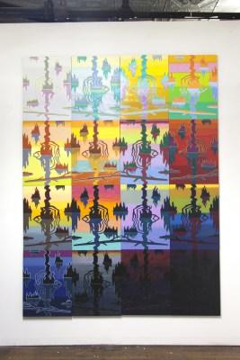 Swamp Shimmer, 16 panel arrangement 2015-18 oil on panel 96″ x 72″