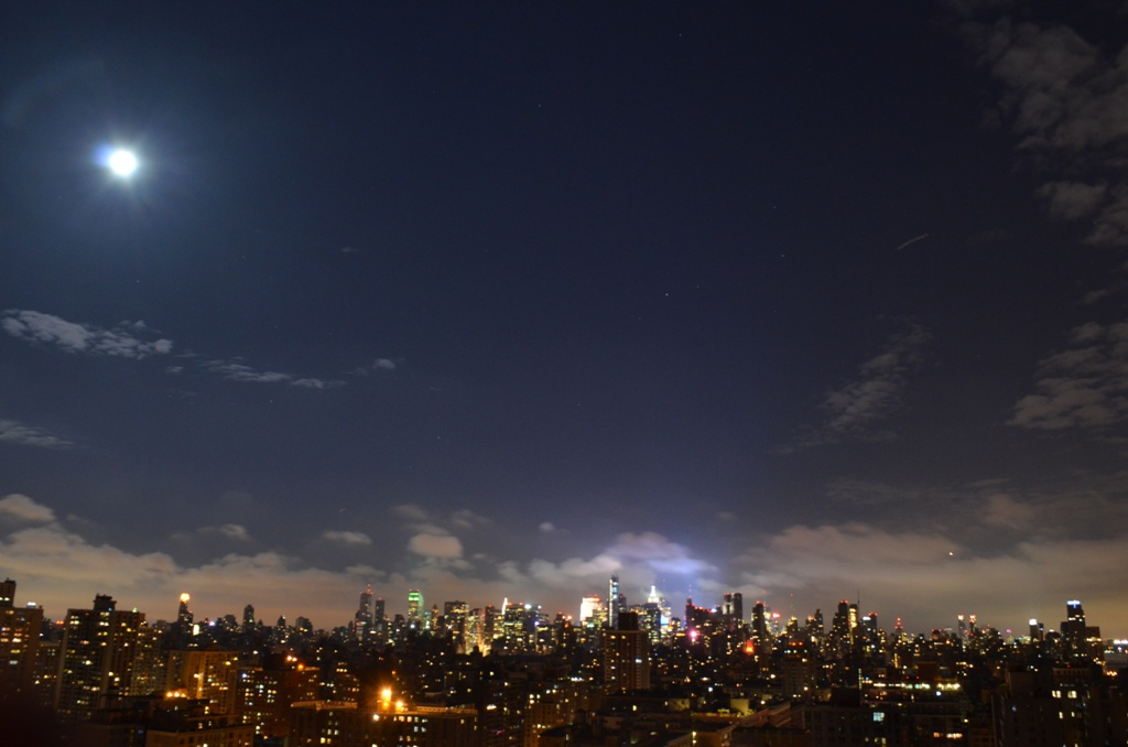 Supermoon at Night Over Manhattan