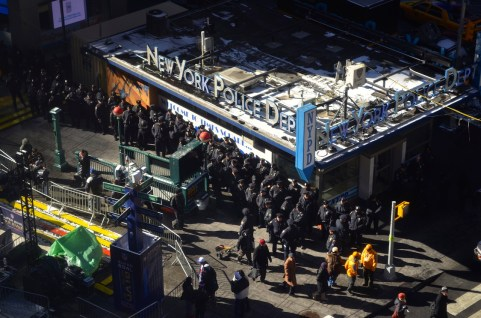 Super Bowl Police Presence in Times Square