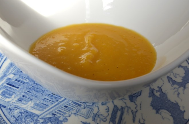 Roasted Acorn Butternut Squash and Garlic Soup