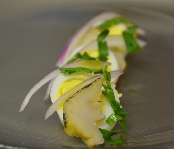 Whelk and Quail Egg Salad
