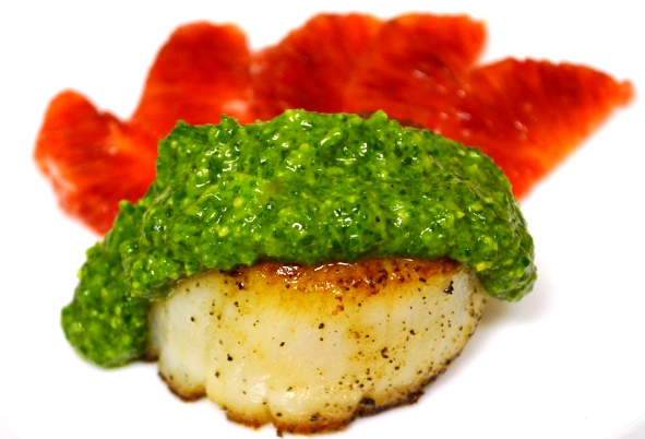 Seared Diver Scallop with Arugula Pesto and Blood Orange Segments