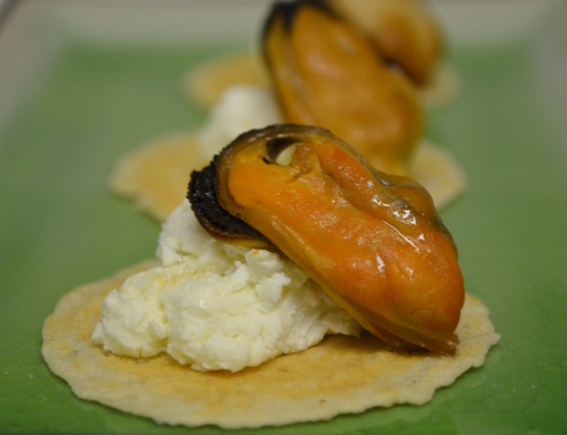 Smoked Mussels with Goat Cheese